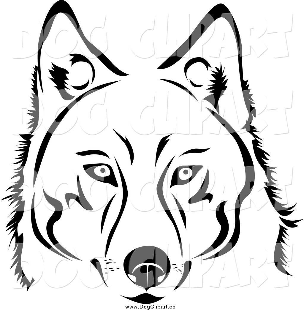 1024x1044 Vector Clip Art Of A Face Of A Black And White Husky Dog By Vector