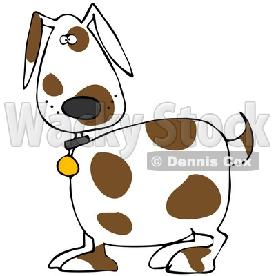 400x400 Illustration Of Cute White Dog With Brown Spots, Wearing