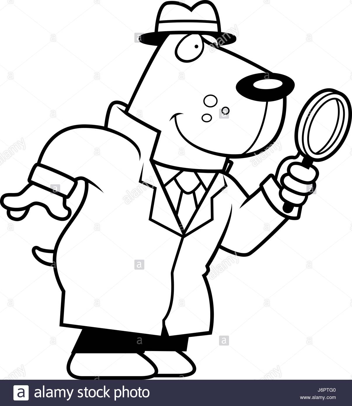 1205x1390 A Cartoon Illustration Of A Dog Detective With A Magnifying Glass