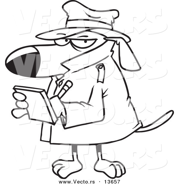 600x620 Vector Of A Cartoon Watch Dog Detective Taking Notes
