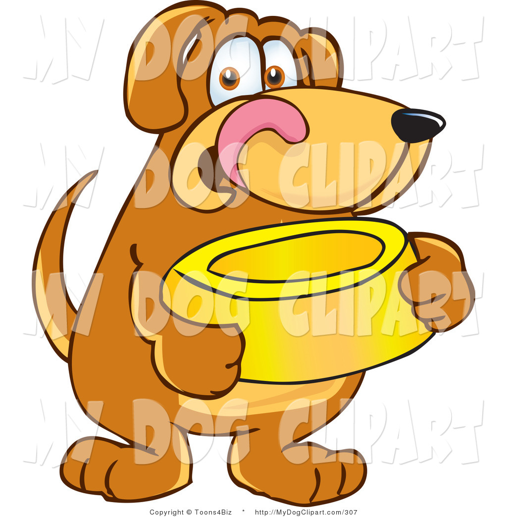 1024x1044 Cliprt Of Hungry Brown Dog Mascot Cartoon Character Holding