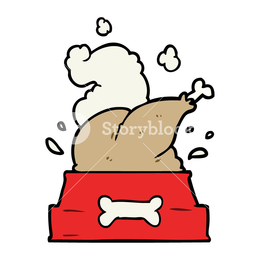 1000x1000 Cartoon Whole Cooked Turkey Crammed Into A Dog Bowl For A Happy