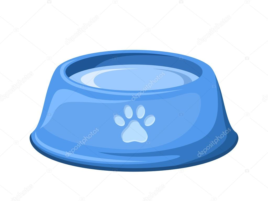 1024x768 Blue Dog Bowl With Water. Vector Illustration. Stock Vector