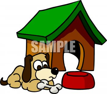 350x307 Royalty Free Clipart Image Cartoon Of A Dog Sitting Outside His