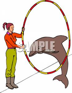 233x300 Dolphin Jumping Through A Hoop Held By A Woman Clipart Picture