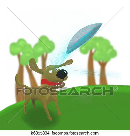 450x470 Drawings Of Dog Jumping To Catch Frisbee Ufo K6355334