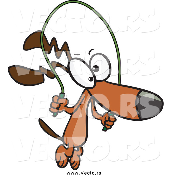 600x620 Vector Of A Cartoon Brown Dog Jumping Rope By Toonaday