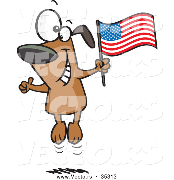 600x620 Vector Of A Happy Cartoon American Dog Jumping Upd Down