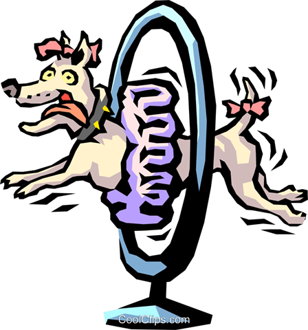 448x480 Show Dog Jumping Through Hoop Royalty Free Vector Clip Art