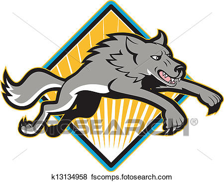 450x365 Clip Art Of Gray Wolf Wild Dog Jumping Attacking K13134958