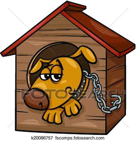 450x467 Clip Art Of Sad Dog In Kennel Cartoon Illustration K20086757