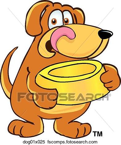 393x470 Clipart Of Dog With Food Bowl Dog01x025