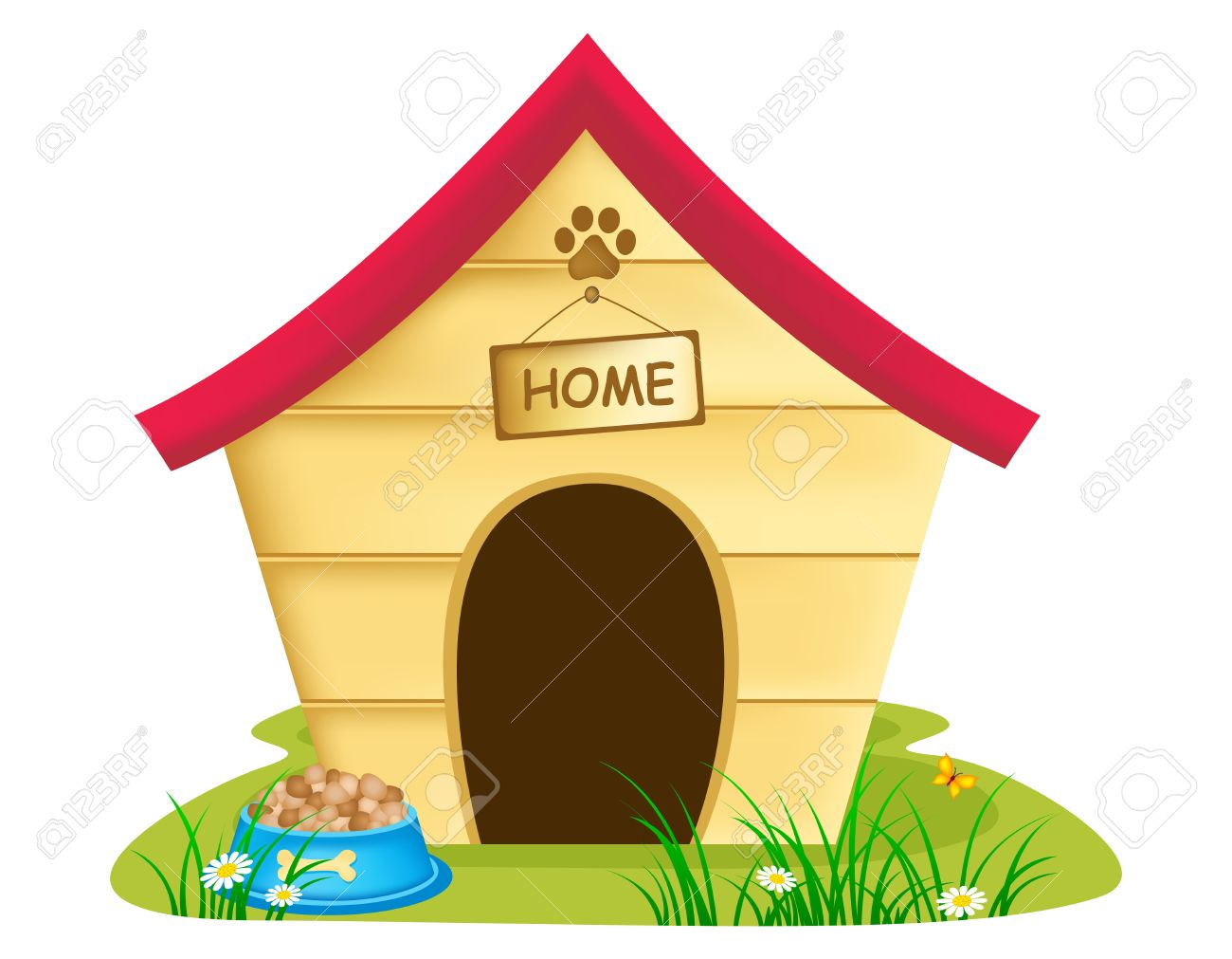 1300x1011 Illustration Of Dog Kennel With Text