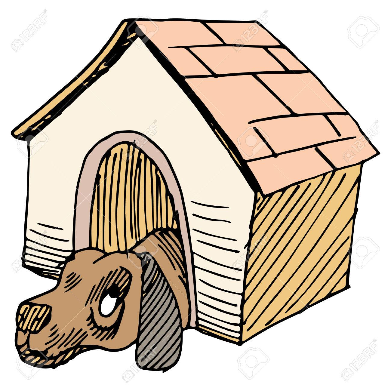 1300x1300 An Image Of A Dog Alone In A Doghouse. Royalty Free Cliparts