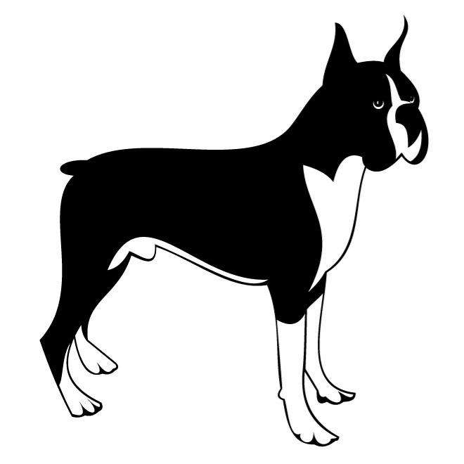 660x660 Black And White Boxer Dog Clipart