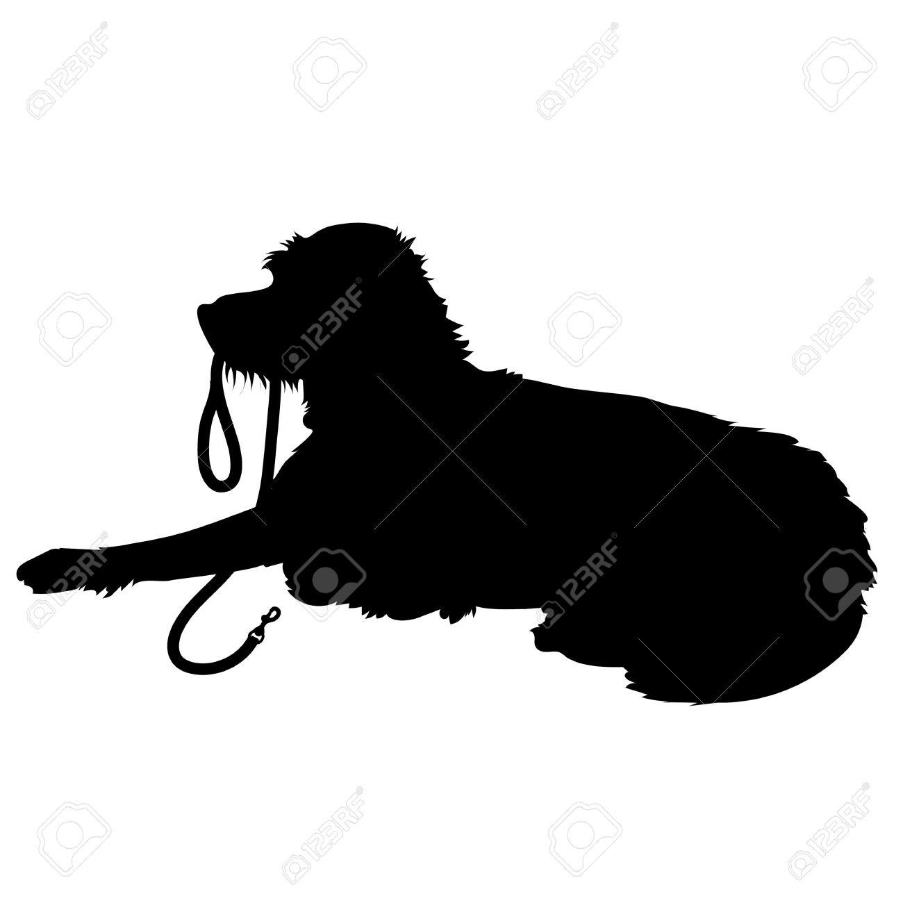 1300x1300 A Black Silhouette Of A Shaggy Dog Lying Down With His Leash