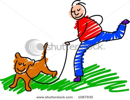 450x348 Clipart Picture Of A Boy Walking His Dog On A Leash In A Vector