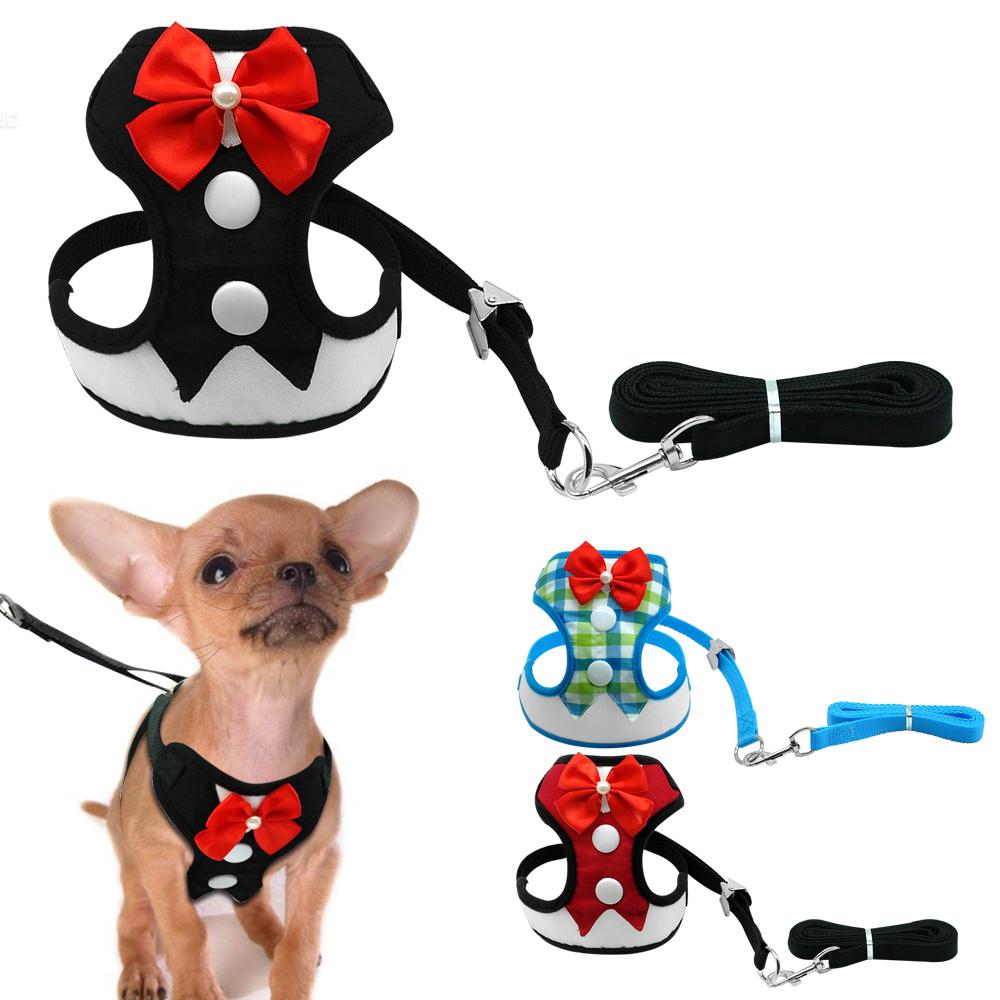 1000x1000 Elegant Bow Dog Harness Nylon Mesh Puppy Vest Breathable Pet