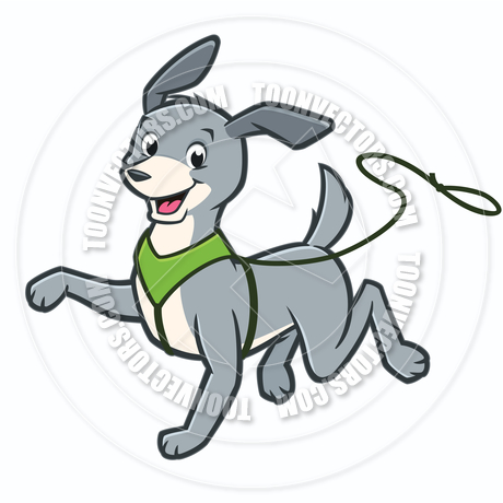 460x460 Vector Cartoon Happy Dog Walking On Leash By Mumut Toon Vectors
