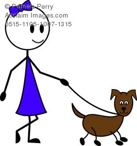 282x300 Art Image Of A Stick Figure Girl Walking Her Dog