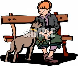 300x255 Boy Sitting On A Park Bench With His Dog On A Leash In Front Of Him