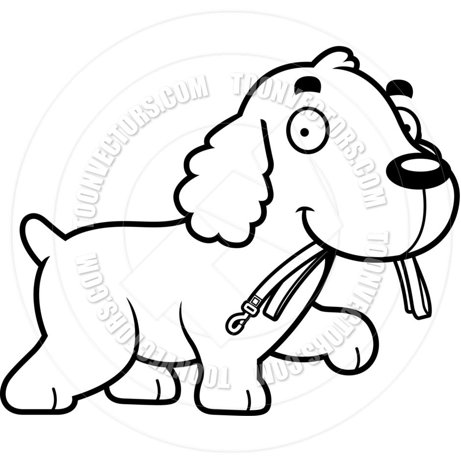 940x940 Cartoon Cocker Spaniel Dog Leash (Black And White Line Art) By