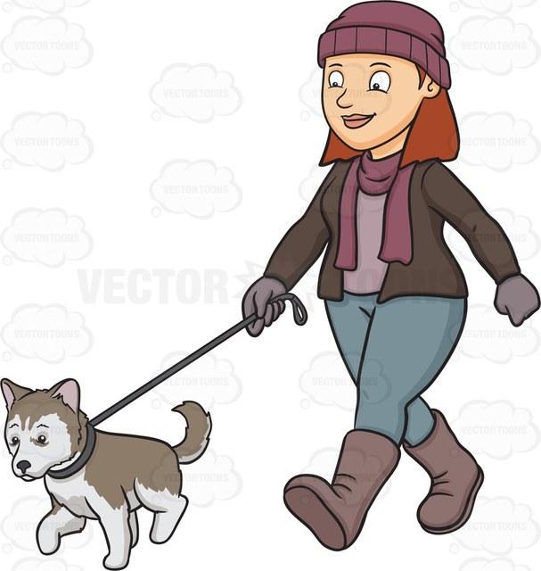 607x640 A Woman Walking Her Siberian Husky Puppy Cartoon Clipart