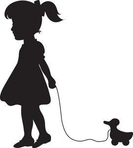 271x300 Little Girl Clipart Walking Dog