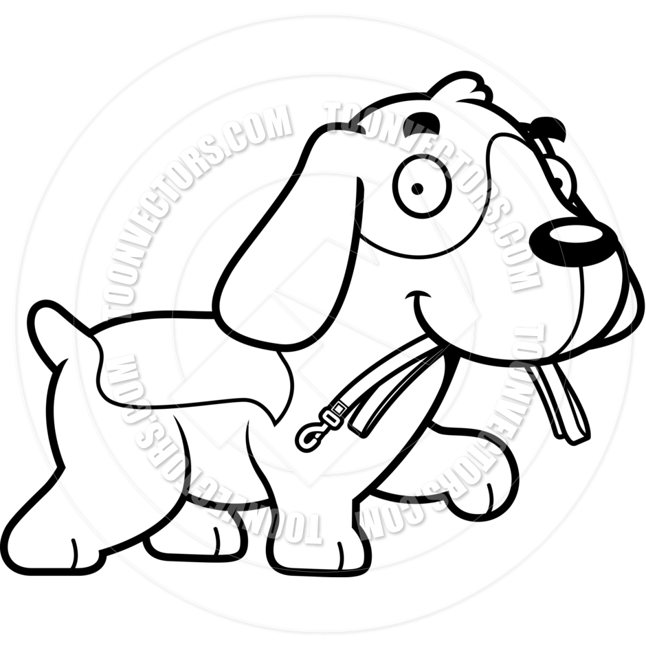 940x940 Cartoon Beagle Dog Leash (Black And White Line Art) By Cory Thoman