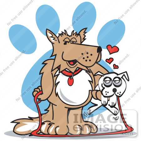 450x450 Cartoon Clip Art Graphic Of A Big Dog Carrying A Little White Dog
