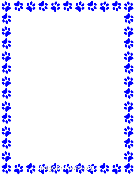 470x608 printable blue paw print border use the border in microsoft word
