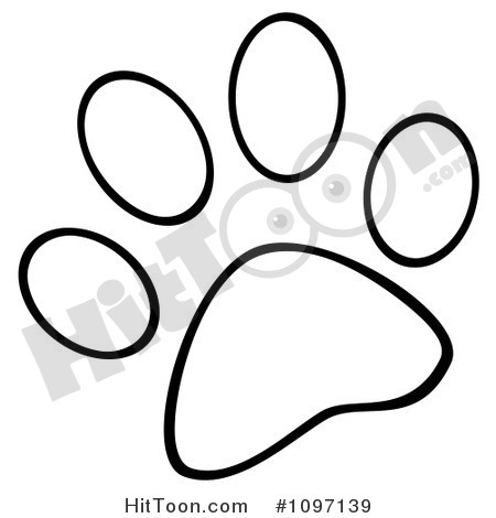 450x470 Paw Print Outline Clipart