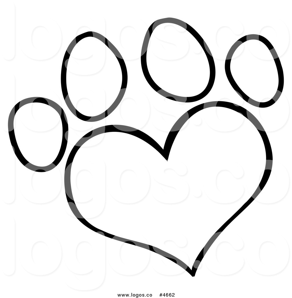 1024x1044 Royalty Free Logo Of A Black And White Heart Shaped Dog Paw Print