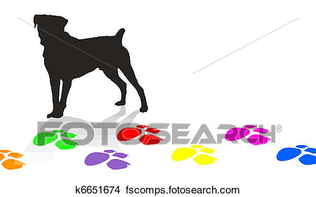 450x281 Clipart Of Dog Silhouette And Colorful Paw Prints K6651674