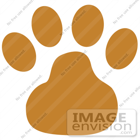 450x450 Cartoon Clip Art Graphic Of A Brown Dog Paw Print
