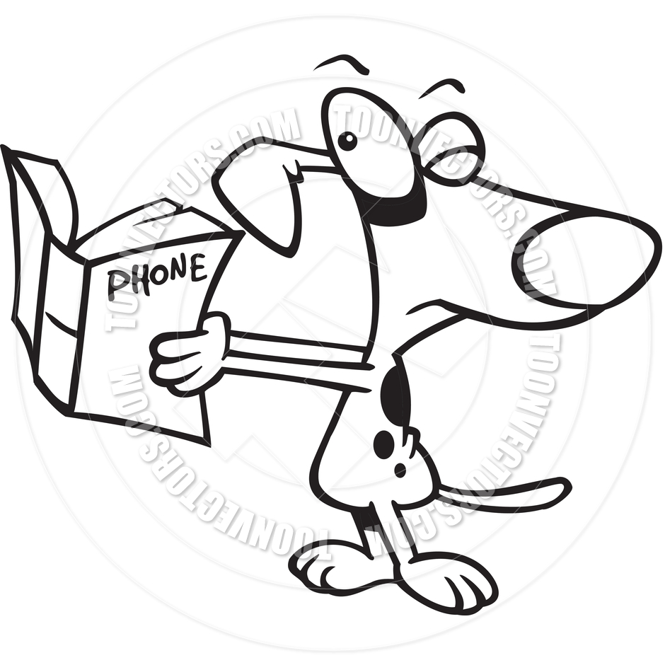 940x940 Cartoon Dog Reading The Phone Book (Black And White Line Art) By