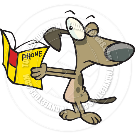460x460 Cartoon Dog Reading The Phone Book By Ron Leishman Toon Vectors