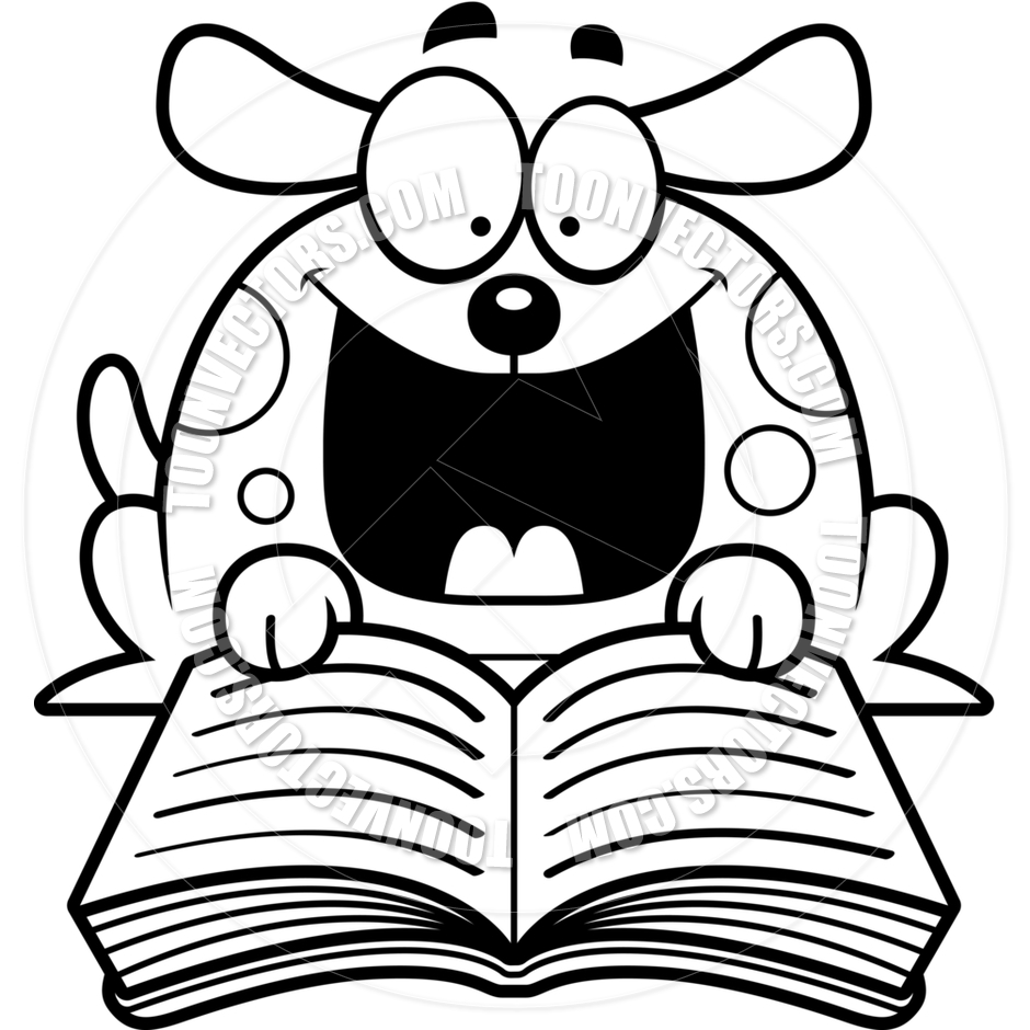 940x940 Cartoon Little Dog Reading (Black And White Line Art) By Cory