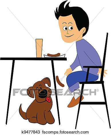 387x470 Clipart Of Boy And His Dog K9477843
