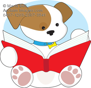 300x288 Cute Puppy Reading A Book Clipart Image