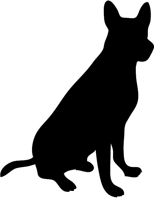 500x642 Dog Silhouette Clip Art Black And White