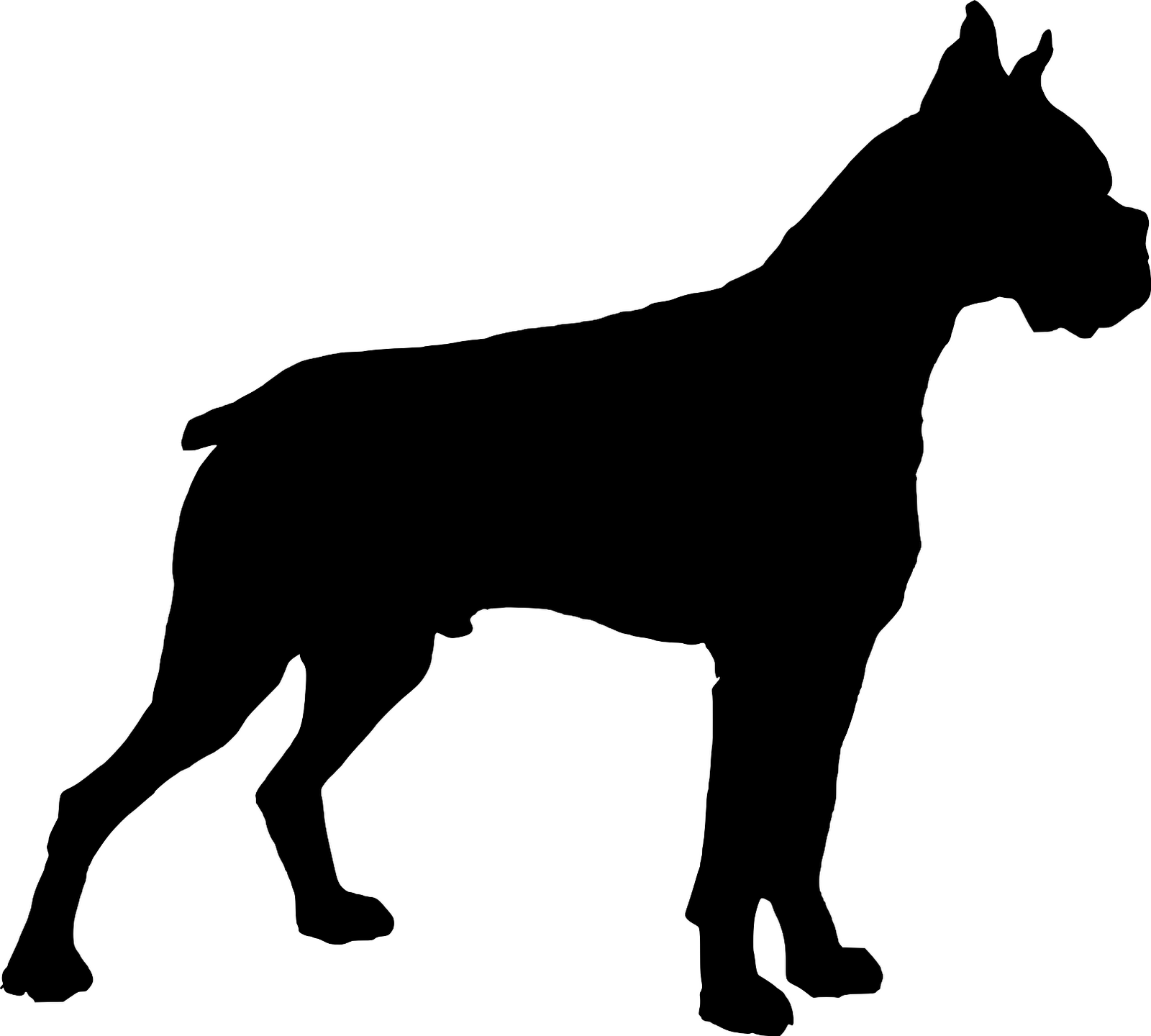 1600x1440 Boxer Dog Silhouette Clipart