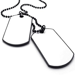 300x300 Konov Army Style 2pcs Dog Tag Pendant Mens Necklace Chain, White