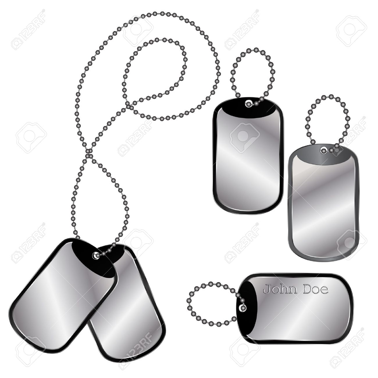 1300x1300 Vector Of Different Dog Tags On A Chain On White Royalty Free