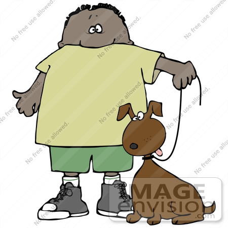 450x450 Clip Art Graphic Of A Proud Boy Walking His Dog On A Leash
