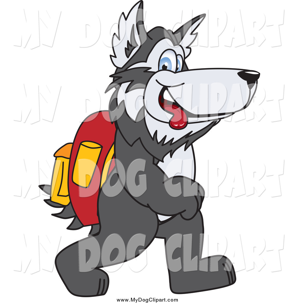 1024x1044 Clip Art Of A Husky Dog Walking To School By Toons4biz