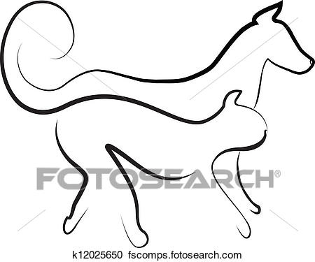 450x375 Clipart Of Cat And Dog Walking Together Logo K12025650