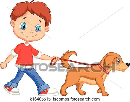 450x355 Clipart Of Cute Cartoon Boy Walking With Dog K16405515