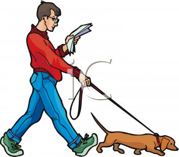 350x307 Man Walking A Dog While Reading The Paper