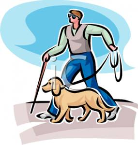 285x300 Picture A Blind Man Walking With A Dog And A Walking Stick